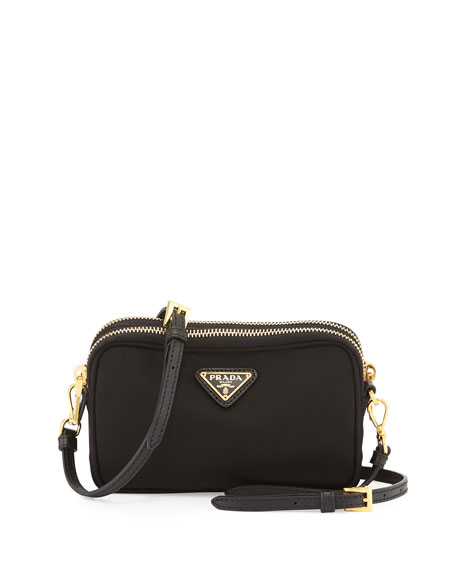 Prada Nylon Double-Compartment Crossbody Bag, Black (Nero)