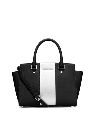 Selma Center-Stripe Satchel Bag, Black/Silver