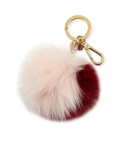 Extra-Large Fox Fur Pom Pom Purse Charm, Cherry/Ballet