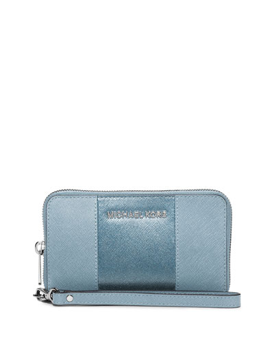 Jet Set Large Saffiano Multifunction Wallet, Powder Blue