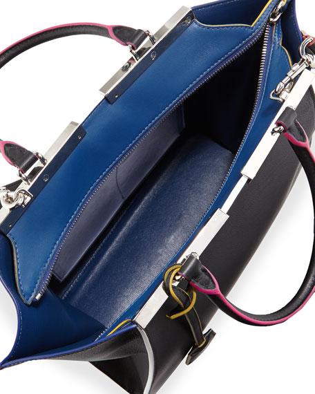 3 Jours Medium Leather Satchel Bag, Black Multi