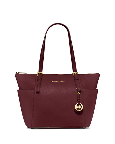 Jet Set Top-Zip Saffiano Tote Bag, Merlot