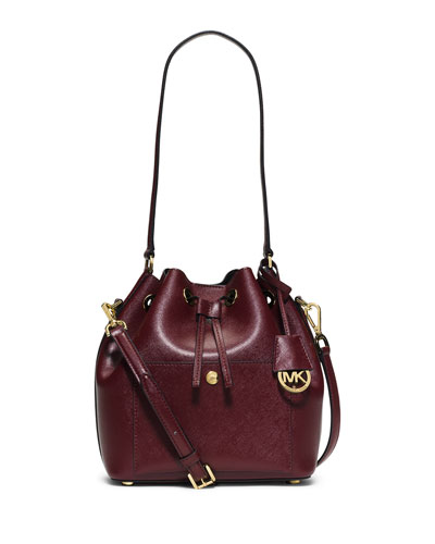 Greenwich Medium Bucket Bag, Merlot/Black