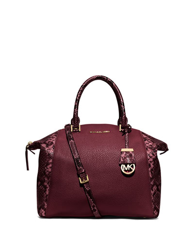Riley Medium Satchel Bag w/Snake Print, Merlot