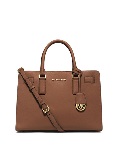 Dillon East-West Saffiano Satchel Bag, Luggage