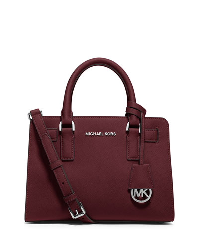 Dillon Saffiano Small Satchel Bag, Merlot