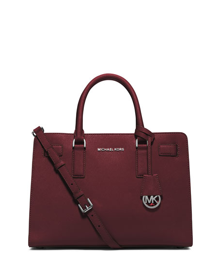Dillon East-West Saffiano Satchel Bag, Merlot