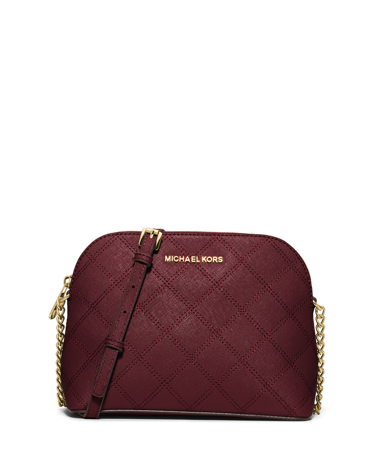 ef7cd080d60d MICHAEL Michael Kors Cindy Large Dome Quilted Saffiano Crossbody Bag, Merlot