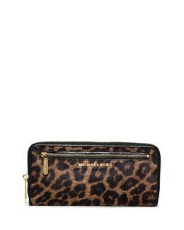 Jet Set Cheetah-Print Calf Hair Continental Wallet