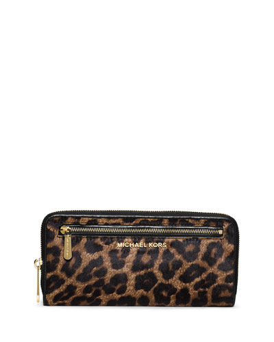 Jet Set Cheetah-Print Calf Hair Continental Wallet