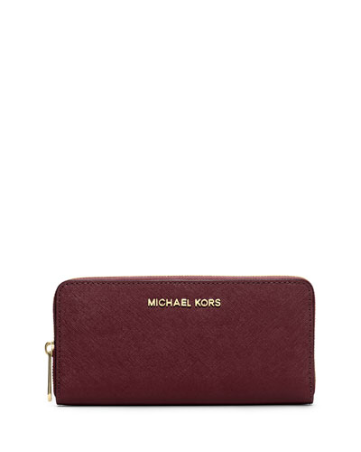 Jet Set Zip-Around Continental Travel Wallet, Merlot