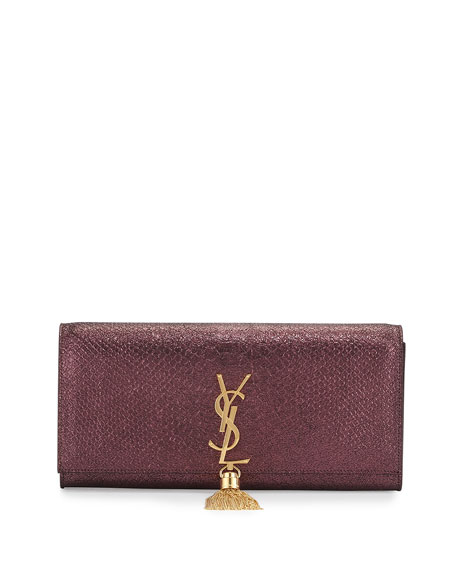 Saint Laurent Monogram Snake-Embossed Tassel Clutch Bag, Purple