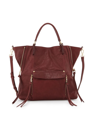 Everette Leather Satchel Bag, Burgundy