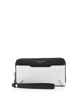 Devon Mobile Zip Wallet, Black/White Crackle