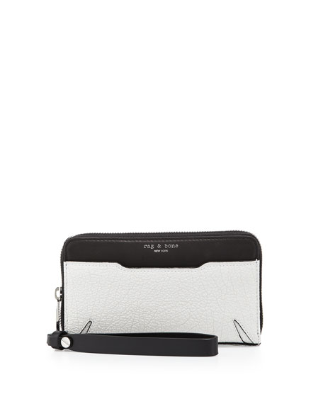 Rag & Bone Devon Mobile Zip Wallet, Black/White