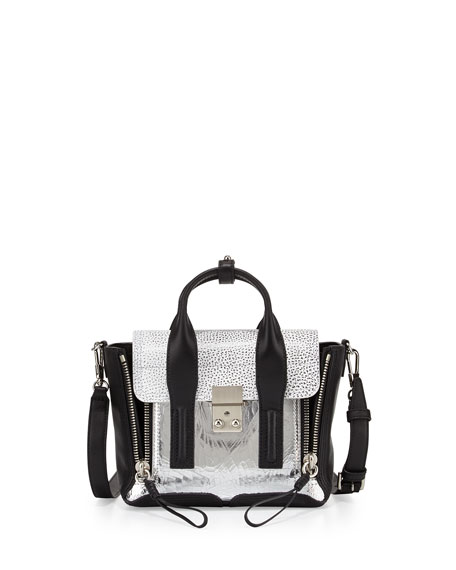 3.1 Phillip Lim Pashli Mini Mixed-Texture Satchel Bag,