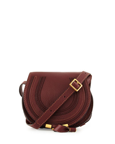 Marci Small Calf Saddle Bag, Bordeaux