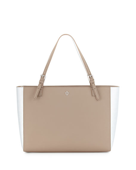 Tory Burch York Buckle Tote Bag, French Gray/Silver