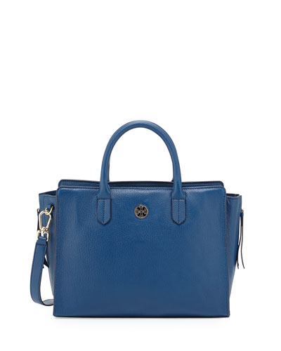 Brody Small Leather Tote Bag, Tidal Wave