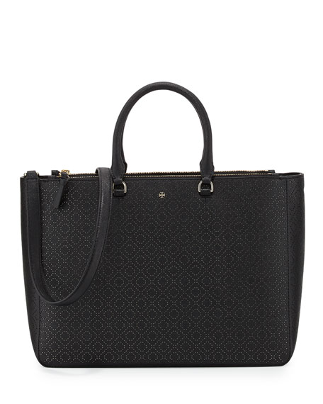 Tory Burch Robinson Perforated Tote Bag, Black