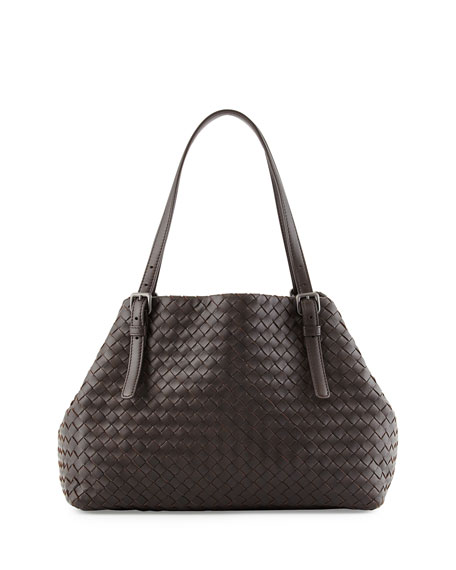 Bottega Veneta A-Shape Medium Woven Tote Bag, Dark