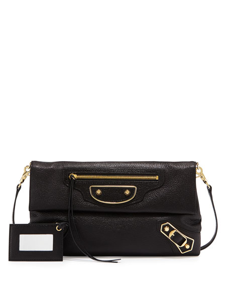 Balenciaga Metallic Classic Edge Envelope Crossbody Bag, Black