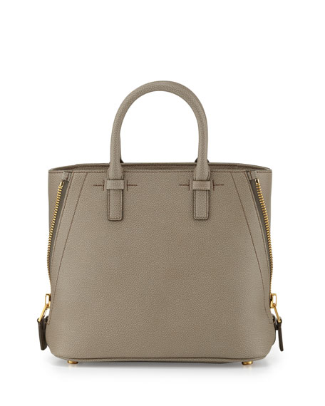 TOM FORD Jennifer Mini Trap Leather Tote Bag, Warm Taupe