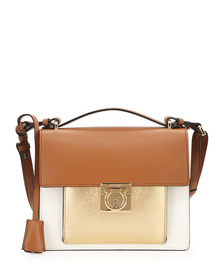 Salvatore Ferragamo Marisol Lock Story Crossbody Bag, Lait