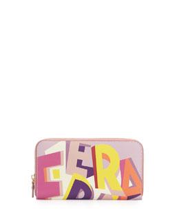Abstract Logo-Print Wallet, Multicolor
