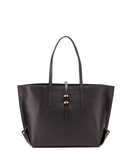 Eartha Leather Mini Shopper Tote Bag, Black