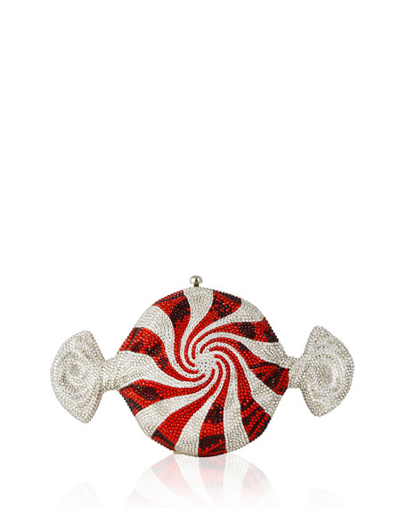 Judith Leiber Couture Peppermint Candy Crystal Clutch Bag