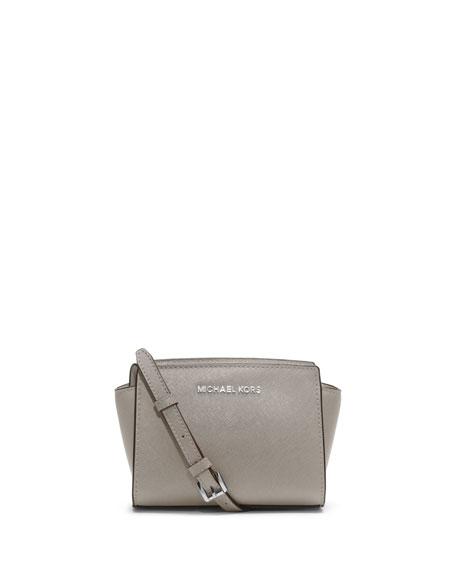 Selma Mini Saffiano Messenger Bag, Pearl Gray