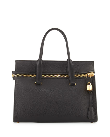 TOM FORD Alix Medium Soft Satchel Bag, Black