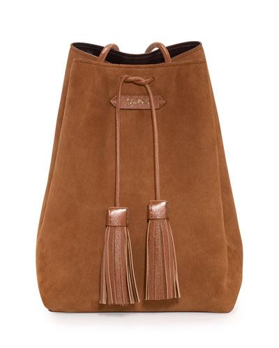 TOM FORD Suede Medium Tassel Bucket Bag, Tan 493e685e8342