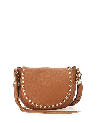 Pebbled Leather Studded Saddle Bag, Almond
