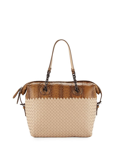 Medium Intrecciato & Snakeskin Satchel Bag, Cream