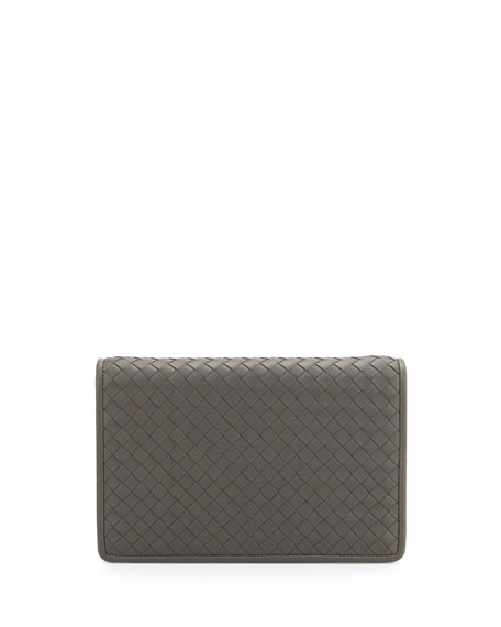 Bottega VenetaIntrecciato Medium Woven Clutch Bag, Light Gray