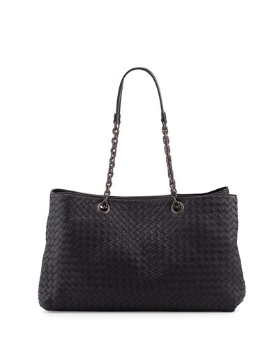 Intrecciato Double Chain Tote Bag, Navy