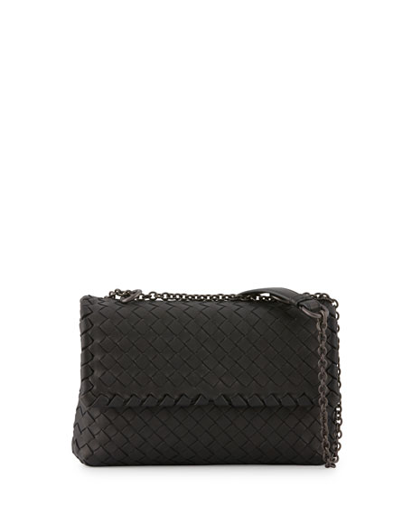 Bottega Veneta Baby Olimpia Intrecciato Shoulder Bag, Black