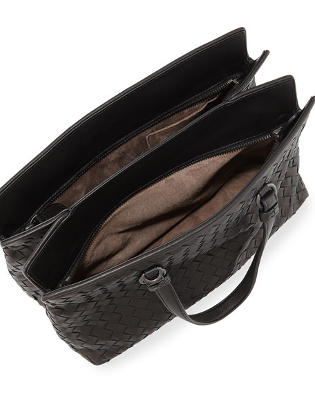 Intrecciato Medium Accordion Tote Bag, Black