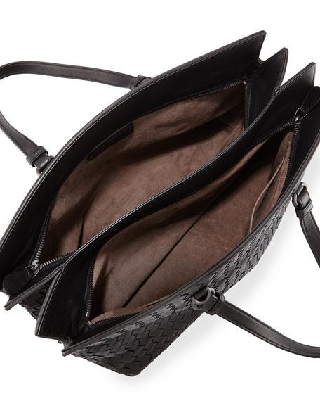 Intrecciato Large Accordion Tote Bag, Black