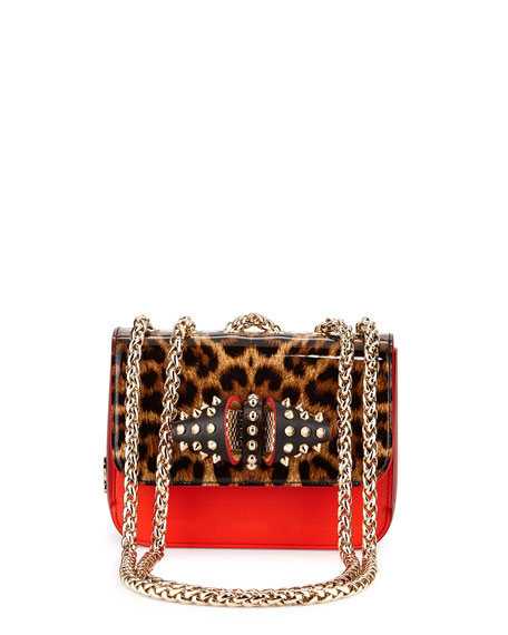 Christian Louboutin Sweet Charity Baby Calfskin Shoulder Bag, Leopard/Orange