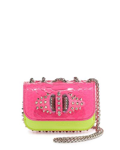 Sweety Charity Python Crossbody Bag, Neon Pink/Yellow