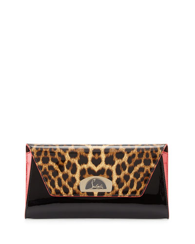 Vero Dodat Flap Patent Clutch Bag, Leopard/Black