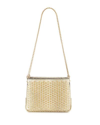 Triloubi Small Triple-Gusset Spiked Shoulder Bag, Gold