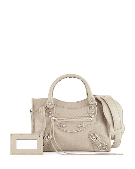 BalenciagaMetallic Edge City Mini Bag, Taupe