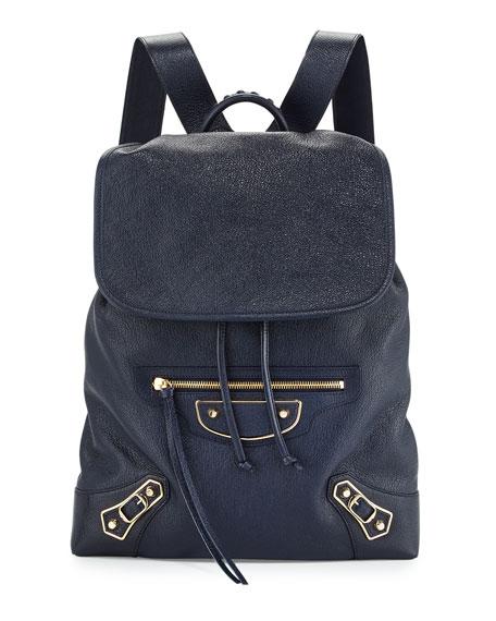 Balenciaga Metallic Edge Goatskin Backpack, Royal Blue