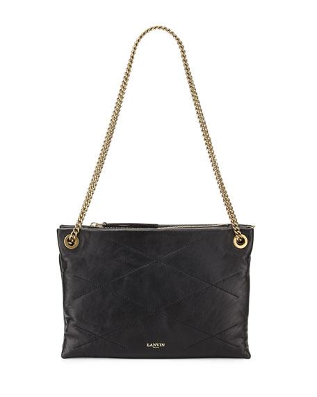 LanvinSugar Quilted Small Double-Zip Shoulder Bag, Black