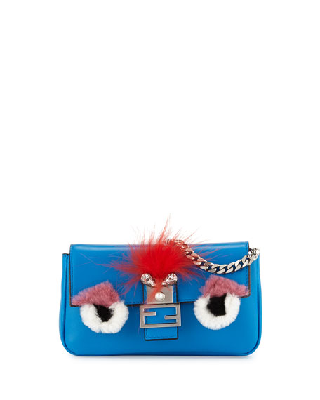 Fendi Baguette Micro Bag Bugs Crossbody Bag, Blue/Yellow