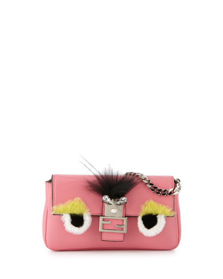 Fendi Micro Monster Baguette, Pink Multi